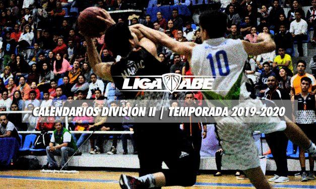 Calendarios de la División II Temporada 2019-2020